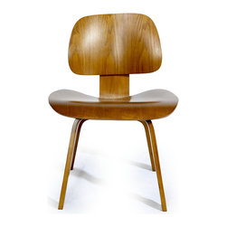 "Kardiel Plywood Dining Chair, Light Walnut Stain - The original chair was designed using technology for molding plywood that the Eames developed before world war II. Charles and his friend, designer of the Womb Chair, Eero Saarinen entered the LCW (lounge chair wood) along with a variety of other pieces into the Museum of modern arts ""Organic Furniture Competition"" in 1940. Charles and Eero won the competition. However, production of the initially designed chairs was postponed due to the United States entry into WWII. Our Eames Style Plywood Lounge chair (LCW lounge chair wood) reproduction has the good posture of civility and solid form, while feeling as familiar as an old friend, as it may remind you of your chair and desk in elementary school only much more comfortable. Leather black and white or brown or white ""cow hide"" covers are available in addition to wood and are a whimsical, practical use of space. The curiously modernist design combined with the Pony Skin ""Western style"" look will generate discussion and will encourage a relaxed, mellow mood to any gathering. Kardiel's reproduction of the original Lounge Chair in Wood (LCW) Eames chair is made in true form to the original which was first produced in 1946. It is no accident that this reproduction has the most quality features, all designed to ensure long lasting service and great design. The plywood is molded to the exact curvature and dimension creating soft contours that invite you to relax and stretch your legs out. The exact back and seat tilt angle puts the sitter in the unique position originally intended. This high quality reproduction features all of the quality construction points and has the good posture of civility and solid form at a fraction of the original cost."