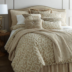 "Dian Austin Couture Home - Dian Austin Couture Home Scroll Box Pillow, 20"" x 14"" - Highly textured bedding ensemble in natural tones features boucle scrolls, smocking, vine embroidery, plus a touch of crochet lace. From Dian Austin Couture Home®. Boucle scroll duvet covers have concealed zip closure and ties inside each corner f..."