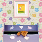 Blossoming Allover Stencil - Blossoming Allover Wall stencil from Royal Design Studio Stencils. This fun, hand painted floral pattern will brighten up and children's room, playroom, craft room or nursery.