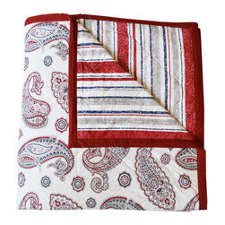 BrandWave - Paisley Quilt, King - We have combined the paisley, of Persian origin, with a multi-colored, irregular striped back, to complete the look of this 100% cotton, reversible quilt.
