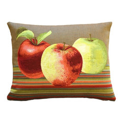 Pillow Decor Ltd. - Fresh Apples on Brown Rectangular Throw Pillow - Gala, Pink Lady or Honeycrisp — when you love nature's perfect fruit, you've got to let it show. This fun throw pillow showcases colorful apples on a crisp striped background. Made in French tapestry, it's a sophisticated yet relaxed accent piece that adds a sweet touch of autumn to any room.