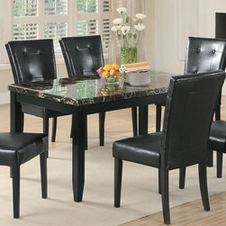 Coaster - Anisa Dining Table - The Anisa collection is casual styled dining room group that features a beautiful high gloss finish faux black marble look top on a server buffet and table. Square block legs with tapered ends, matching chairs and counter height chairs are in a black leather like vinyl and finished in dark cappuccino, creating gorgeous dining and gathering spaces in your home.