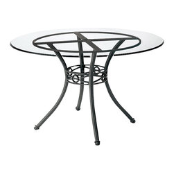 Woodard - Delphi 48 in. Round Dining Table Base (Bronze) - Finish: Bronze. Aluminum frame. Height: 28.5 in. H. Weight capacity: 250 lbs. Not recommended for granite or stone table tops. All products are made to order. Orders cannot be cancelled after 5 calendar days. If order is cancelled after 5 calendar days, a 50% restocking fee will be applied.