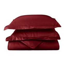 """Cotton Rich 800 Thread Count Microchecker Duvet Cover Set - Full/Queen - Burgund - Dress up your bedroom decor with this luxurious 800 thread count Cotton Rich micro-checker duvet cover set. A superior blend of materials makes these duvet covers soft, easy to care for and wrinkle resistant. Set includes: (1) Duvet Cover 90""""x92"""" & (2) Pillowshams 20""""x26"""" each."""