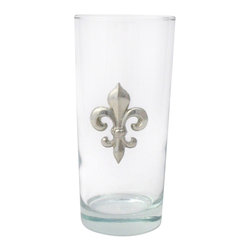 Jon Margeaux - Fleur de Lis Beverage Glasses, Set of 4 - Set of 4 (15 oz.) Beverage Glasses accented with a pewter accent. Dishwasher safe. Made in USA