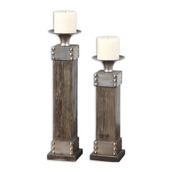 Uttermost - Uttermost Lican 2 Candleholders in Natural Wood w/ Silver accents - 2 Candleholders in Natural Wood w/ Silver accents belongs to Lican Collection by Uttermost Natural wood with a light chestnut stain and antiqued silver accents. Distressed white candle included. Sizes: Sm-5x14x5, Lg-5x18x5. Candleholder (2)