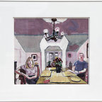 Mel Leipzig, Couple at Dining Room Table, Painting - Artist:  Mel Leipzig, American (1935 - )