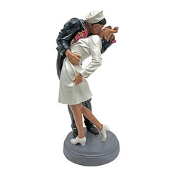 """EttansPalace - 12 Inches Tall Emotional """"Inspired by the Moment"""" Statue: Small - A poignant moment in history inspired by the victory of World War II finds a sailor and American nurse caught in the act of an emotional kiss. Full of the historic nostalgia that epitomizes the American character, this hand painted designer resin sculpture is retro art bringing the joy of victory to life in three dimensions."""