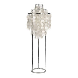 Fun Floor Lamp - Inspired by Verner Panton F 1STM Pendant, the Fun table lamp frame is comprised of three chromed metal rings, with suspended Mother of pearl discs.