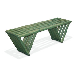VIFAH - Bench X60, Alligator Green - The Bench X60 is modern, stylish, durable, eco friendly and 100% made in the USA! This nifty bench arrives partially assembled at your home needing only a final touch to be ready for use (Less than 10 min!). Thoughtfully conceptualized by the Brazilian designer Ignacio Santos and the Colombian designer Fabian Ramos, the Bench X60 is crafted from Eco Friendly Premium Yellow Pine wood from Alabama, stainless Steel Nut and built to last for years if well taken care of. This versatile backless bench is perfect to be used at the entrance of your home, in your bedroom or in your closet. Its inventive design, and triangular legs give it a great stability allowing it to be used anywhere. Great as gift or as a backyard bench this trendy piece is a must have! This heavy duty yet elegant bench is made from real solid wood so there are a few natural knots on it that give it a great rustic charm! The Bench X60 is the perfect fit for your front porch and will surely get you many compliments! The longer you own it the more you will love it! Our Bench X60 is finished with a semi-transparent stain and sealant mixture that protect it not only against humidity but also from UV rays and direct sun exposure. This stain finish allows you to see the natural wood through the color and is ideal for those who want to leave their furniture outside all year long without worrying about what may happen. All our products are packaged in recyclable double walled boxes with reinforced corners to ensure a safe transportation. We don't use any kind of extra packaging to avoid waste and the use of non-recyclable products. If you love design, care about the environment, and like trendy products, look no further, GloDea's Bench X60 is perfect for you!