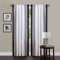 Lush Decor - Lush Decor White/ Black 84-inch Metropolitan Curtain Panel - Draw out the full potential of your windows with these trendy curtain panels made in a Metropolitan style. The black borders of the snow-white material make these curtain panels stark monochrome décor that go splendidly with sterile,white walls.
