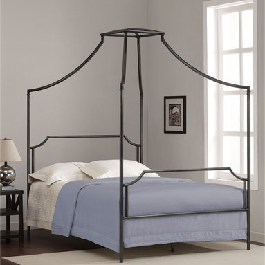 None - Bailey Charcoal Full-size Canopy Bed Frame - This beautiful full-size Bailey metal canopy bed will add style and whimsy to your child's bedroom.  With graceful curves,canopy design and clean lines,this charming bed will easily blend with modern and traditional styles alike.