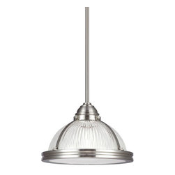 Sea Gull Lighting - Pratt Street Prismatic Brushed Nickel One Light Pendant with Prismatic Glass - - Glass and Shade: Clear Textured�Glass  - Glass and Shade Size: D:10-Inch H:0.25-Inch  - Bulb Not Included  - Canopy Dimensions: Diameter: 5.5-Inch H: 1.25-Inch Shape: Round  - Wire and Cord Length: 120  - Wire and Cord Color: Clear Connection: Hardwired  - LED Convertible: Easily Converts to LED with Optional LED Bulbs That are Sold Separately Sea Gull Lighting - 65060-962