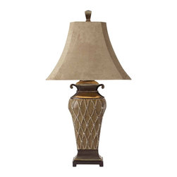 "Uttermost - Uttermost Cortina Table Lamp 12 x 18.5 x 36.25"", Brown - This beautiful lamp is finished in an ivory underlayer with a transparent brown wash and scratched silver leaf accents. The brushed palomino sueded shade is a rectangle bell with clipped corners.Designer: Carolyn KinderWattage: 100WDimensions: 12"" depth by 18.5"" width by 36.25"" heightMaterial: resin"