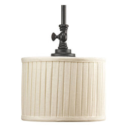 Thomasville Lighting - Thomasville Lighting P5256-84 Clayton 1 Light Mini Pendant - Thomasville Lighting P5256-84 Single Light Clayton Mini PendantFinished in Espresso, this traditionally rooted design is where classic vintage styling meets minimalistic lines. This single light mini pendant is highlighted by modern drum shades in cream linen fabric with soft side pleats for an unforgettable design that will enhance the beauty of any room.Classic vintage styling meets minimalist design. Clayton highlights a fresh look using arching arms, drum shades in a clean linen fabric and Espresso finish. Also features adjustable turnkey for customized shade directions.Thomasville Lighting P5256-84 Features: