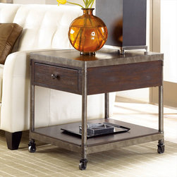 "Hammary - Structure Rectangular Drawer End Table in Heavily Distressed Brown Finish - ""There is beauty in simplicity. And seldom does furniture possess more effortless beauty than Hammary's new """"Structure"""" collection."