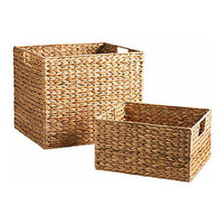 Water Hyacinth Baskets With Handles - These gorgeous handwoven baskets add style and texture to a home office or playroom, and are great for corralling office supplies, papers, files and/or toys.