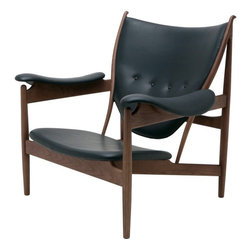 Nuevo - Grande Lounge Chair, American Ash Painted Walnut and Black Leather - Nuevo Living is a premier manufacturer of high quality modern furniture and decor. Nuevo Specializes in wonderful original designs, high quality interpretations of modern classics, designer decorating items, and specialty lighting. Creating a modern home environment is easy with Nuevo Modern Designs.