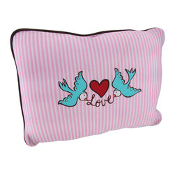 Happy House 'Lucky in Love' Pink/White Striped Lovebirds Throw Pillow - This super soft polyester throw pillow is a cheerful accent to add to your couch, chair, or bed. The front features a sweet pink and white striped background with 2 teal lovebirds spelling out the word 'Love,' under an adorable heart applique. The back of the pillow is a coordinating red fleece, and the pillow is outlined with brown canvas piping.