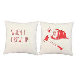 RoomCraft - Firefighter Throw Pillow Covers 16x16 White Cotton Shams - FEATURES: