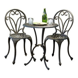 Cast Aluminum Dark Gold Bistro Set - Entertain guests or family with this sturdy bistro set. The Cast Aluminum Dark Gold Bistro Set is designed with a French touch and is ideal for balconies, gardens and patios. Made of cast aluminum, this outdoor bistro set comprises two well-crafted chairs and a tall table. The table is ornately designed and stands on three, wide, sturdy legs for maximum stability. You can now make the best of the seasons with this beautifully styled outdoor accent.About Best Selling Home Decor Furniture LLC Best Selling Home Decor Furniture LLC is a US-based company dedicated to providing you with a wide variety of fine furniture. With sales and manufacturing offices in Europe and China, as well as the ability to ship to anywhere in the world, no one is excluded from bringing these lovely pieces home. From outdoor to indoor furniture, children's furniture to ottomans and home accessories, all your needs will be met with attractive, high quality products that will last.