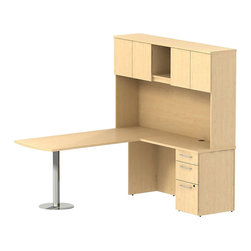 """Bush - Bush 300 Series 72"""" L-Shape Peninsula Desk with Hutch in Natural Maple - Bush - Commercial Grade Office - 300S065AC - Sleek lines and ultimate placement versatility is what defines the Bush Natural Maple 300 Series 72""""W x 30""""D Peninsula Desk with 42""""W Return and Tall Overhead. Desk's narrow profile offers roomy workspace yet fits in the tightest places. Three B/B/F drawers keep necessary papers, documents or office supplies at your fingertips. File drawer, on full-extension ball bearing slides, accommodates letter- legal or A4-size files. The 42"""" Return is supported by a stylish brushed aluminum leg and base so you can stretch out comfortably. Tall Overhead Storage helps keep desk areas clear and has an open center section for large books or oversize manuals. Height matches other 300 Series Tall Overhead Storage Units for side-by-side configurations. Two enclosed compartments hold supplies, electronics or personal items."""