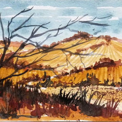 Watercolor Painting - Original, one of a kind watercolor painting of a hilly landscape in late autumn by artist Vidal, circa 2000.