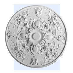 "Inviting Home - Arvada Ceiling Medallion - large ceiling medallion diameter - 30-7/8"" decorative medallion Fabulous Arvada ceiling medallion intricately designed with flower bouquets and graceful scrolls. This ceiling medallion is classic reproduction of historical design. Arvada medallion molded in deep relief design to achieve the highest degree of quality and details. Arvada decorative medallion giving you look and feel of plaster while it is much easier to install than plaster or gypsum due to the weight dimensional stability precise tolerances and flexibility. - ceiling medallion manufactured from high density furniture grade polyurethane. - decorative medallion is water and heat resistant impervious to insect infestation and odor free. - center hole on the ceiling medallion is easily drilled or cut with a pen-knife to any dimension. - for installation of the ceiling medallion use specially formulated ceiling adhesive."