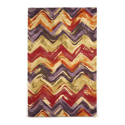 Trans-Ocean - Chevron MuLighti 5' x 8' Indoor Rug - Intricately blended tonal colors in a fresh palette combine with sweeping broad designs. Hand Tufted in India of 100% Wool, this is a great rug for any Indoor space. A unique twisted yarn adds surface texture and makes these rugs soft underfoot.