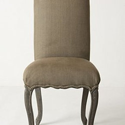 """Anthropologie - Clarissa Dining Chair - Grey-washed finishWebbed seat constructionLinen upholsteryMango wood frame; poly fillProfessionally clean44""""H, 20""""W, 20""""DSeat: 21""""HImported"""