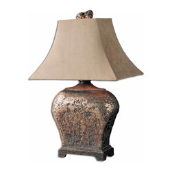 Uttermost - Xander Table Lamp - This attractive lamp has a hand applied silver leaf finished with a semi-transparent brown glaze with taupe gray antiquing. The suede textile shade is a rectangle bell.