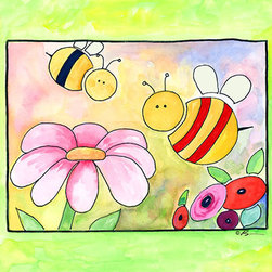 Oh How Cute Kids by Serena Bowman - Busy As Bees, Ready To Hang Canvas Kid's Wall Decor, 11 X 14 - Each kid is unique in his/her own way, so why shouldn't their wall decor be as well! With our extensive selection of canvas wall art for kids, from princesses to spaceships, from cowboys to traveling girls, we'll help you find that perfect piece for your special one.  Or you can fill the entire room with our imaginative art; every canvas is part of a coordinated series, an easy way to provide a complete and unified look for any room.
