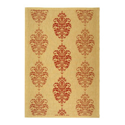 """Safavieh - Courtyard Brown/Red Area Rug CY2720-3701 - 6'7"""" x 6'7"""" Round - Safavieh takes classic beauty outside of the home with the launch of their Courtyard Collection. Made in Belgium with enhanced polypropylene for extra durability, these rugs are suitable for anywhere inside or outside of the house. To achieve more intricate and elaborate details in the designs, Safavieh used a specially-developed sisal weave."""