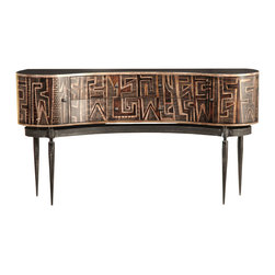 TerraSur - Ema Curved Console - Add a little tribe vibe to your space with this hand-painted console. Its indigenous tribal design is one of a kind, and no two tables will be alike. The piece sits atop a base that's made of solid steel for incredible strength.