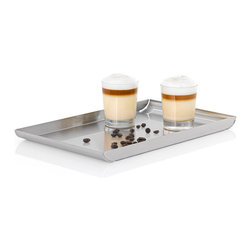 Blomus - Trayan Stainless Steel Serving Tray - Large - It's always a good time to put something out to snack on: holiday cookies — hors d'oeuvres, sushi rolls, breadsticks, cheeses ... Are you hungry yet? This is just the tray to help you serve it all on. This sleek little number holds an amazing array of goodies for your guests, all contained by a curvaceous little lip around the sides.