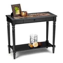 Convenience Concepts - Faux Marble Foyer Hall Table w Drawer in Blac - Lower storage shelf. Solid hardwood legs for strength. Limited warranty. Made from MDF and faux marble. Assembly required. 31 in. W x 14 in. D x 30 in. H (33 lbs.)Matches other Faux marble items.