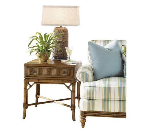 Tommy Bahama Home - Tommy Bahama Home Beach House Heron Lamp Table in Golden Umber - Tommy Bahama Home - End Tables - 010540953 - The intricate leather-bound rattan detailing on the cross stretcher and reeded drawer front give a sophisticated look. Finished on all four sides makes this piece ideal by a chair or sofa that extends into the room.