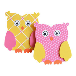 """Little Elephant Company - Happi Tree Owl Quilt Clips set of 2 - Beautiful quilt clips that transform your treasured baby quilts and comforters into charming hanging artwork for your child's room.    Very easy to use.  ***    The set is a pair of adorable hand painted owls. The first owl is bright yellow with Valentine pink wings, orange beak and feet, and white and Valentine pink accents. The second owl is Valentine pink with tiny light pink polka dots, bright yellow wings, and orange beak and feet.    These quilt clips are perfect for garden and girly forest themed bedding sets.    Each owl measures 3.25 in. x 3.63 in.    How many quilt clips do I need?  - For a quilt that is still stiff and new, you will only need 2 quilt clips for up to 36 inches wide. Many people will do 3 quilt clips just for the look, though. For a quilt that has been washed and is pliable, 2 clips will be sufficient for up to 36 inches, but you may want 3 clips to help keep the center from sagging. For a quilt 36 to 42 inches wide, use 3 to 4 clips. For a quilt 42 to 50 inches, use 4 to 5 clips.    How do the quilt clips work?  - The only hardware is needed is a long nail, approximately 1 1/2"""" to 2 1/2"""" in length.  - Measure how far apart you would like the clips to be.  - Decide how high on the wall they will be placed and mark your first spot. Using a level, measure out and mark the second spot.  - Place your nails into the wall at a 45 degree angle. IMPORTANT: If your nail is not at a 45 degree angle, the clip may slip off the nail.  - Clip the quilt and slide the back of the clip over the nail.    What are the clips made of?  - Designs are made of layered wood. A few of our designs also have layered felt.   - Clips on the back are a sturdy plastic so as not to damage your fabric."""