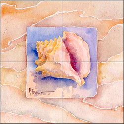 The Tile Mural Store (USA) - Tile Mural - Summer Conch  - Kitchen Backsplash Ideas - This beautiful artwork by Paul Brent has been digitally reproduced for tiles and depicts a nice shell in the summer series.    Tile murals with shells and decorative shell tiles are timeless and are excellent to add to your kitchen backsplash tile project or your tub and shower surround bathroom tile project. Images of sea shells on tiles add a unique element to your tiling project and are a great kitchen backsplash idea for a coastal home. Use a shell tile mural for a wall tile project in any room in your home where you want to add interest to a plain field of wall tile. Bathrooms always look best with the addition of decorative wall tiles so why not add decorative tiles with images of shells?
