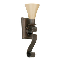 Craftmade - Craftmade Marquis 105 Series Traditional Wall Sconce X-1GA50501 - This Craftmade Marquis 105 Series Traditional Wall Sconce is an interesting piece. It has a unique design, as evident in the over-sized scroll in a hand-painted, aged bronze finish that supports the shapely, tea-stained glass shade. It's an attractive piece that's sure to effortlessly take command of any space.