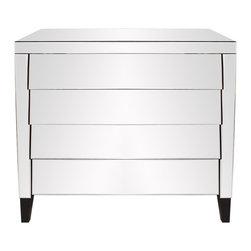 Howard Elliott - Mirrored 4-Drawer Dresser - This mirrored dresser features 4 drawers. The drawers slightly overlap creating a shingled effect. Black wood legs complete the look. Each drawer is 6 x 34.