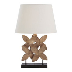 Arteriors - Ella Lamp - The floral arrangement — deconstructed and redefined for your favorite contemporary setting. With this table lamp, hand-carved wood flowers form the sculptural base, sitting pretty under a linen, cotton-lined shade.