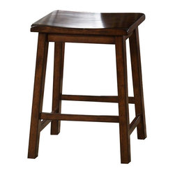Liberty Furniture - Liberty Furniture Cabin Fever Sawhorse Counter Height Stool in Brown, Dark Wood - This backless sawhorse barstool features a contoured top for a comfort seat with rustic county style. It provides great seating at a counter height pub table, kitchen counter, and other entertaining spots within your home. What's included: Counter Height Stool  (can only be purchased in sets of 2).