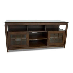 """Tech Craft - Veneto 60-Inch LCD TV Cabinet in Walnut Finis - 60 in. Wide walnut wood veneer finish """"Hi-Boy"""" fits most 60 in. and smaller flat panels. 28 in. Height makes it perfect for living room or bedroom setting. Convenient component slots holds 3 or more components. Beautiful framed doors for concealed storage. Height makes it perfect for living room or bedroom setting. Ample room for wire management. Made of walnut wood veneer. 60.25 in. W x 20 in. D x 28.12 in. H"""