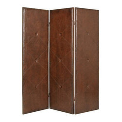 Copley Screen - Add intrigue to your home with this stately chocolate brown faux leather floor screen. All four panels feature diamond stitched seams and button tufted accents. With its antique brass nail head trim, this dual sided screen offers privacy in stellar style.