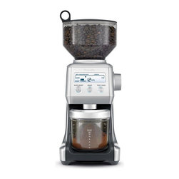 """Frontgate - Breville Smart Grinder Coffee Grinder - Beautiful stainless steel finish. Backlit LCD display. Air-tight storage canister. 1 lb. removable hopper. 40"""" cord and cord wrap for a tidy counter. Perfect coffee needs a precise amount of freshly ground beans, and our Breville Smart Grinder uses Dosing IQ technology to automatically adjust the dose whenever you change the grind, giving you a precise dose for your needs. With 25 grind settings, this die-cast conical burr grinder lets you choose between """"cups"""" (for French Press or Filter), or """"shots"""" (for espresso) to achieve coffee grinding perfection.  .  .  .  .  . Easy minor assembly required ."""