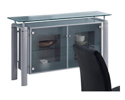 Global Furniture - Global Furniture USA 88B Frosted Glass Top Buffet w/ Silver Legs - The buffet features rectangular frosted glass top which is framed with clear glass. The tubular legs are made of silver metal and finished in beige which completes the look of your dining or living space.