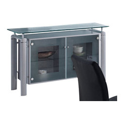 Global Furniture - Global Furniture USA 88B Frosted Glass Top Buffet with Silver Legs - The buffet features rectangular frosted glass top which is framed with clear glass. The tubular legs are made of silver metal and finished in beige which completes the look of your dining or living space.