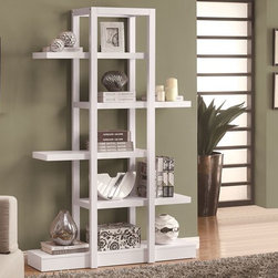 """Monarch Specialties - Monarch Specialties 71 Inch Open Concept Display Etagere in White - Add visual depth to any decor with this white finished open concept shelf display. The 71"""" high unique design is sturdy with its solid-wood finish. Its open concept allows for ample room to display pictures, decorative pieces and even books. This piece is a great addition to your living room, hallway or even bedroom. What an exquisite piece!"""
