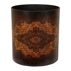 Oriental Furniture - Olde-Worlde European Waste Basket - An elegantly decorated trash can or dust bin, with a rich, dark textured faux leather finish. The faux leather is printed with a unique, ancient old world European decorative design, that helps turn a mundane necessity into a truly beautiful decorative accessory. In some of the nicest homes in America, you can find a comparatively unattractive plastic or metal waste paper basket. This beautiful decorative waste bin upgrades decor of any room just a little, and may be one of the nicer, more thoughtful gifts someone receives this year.
